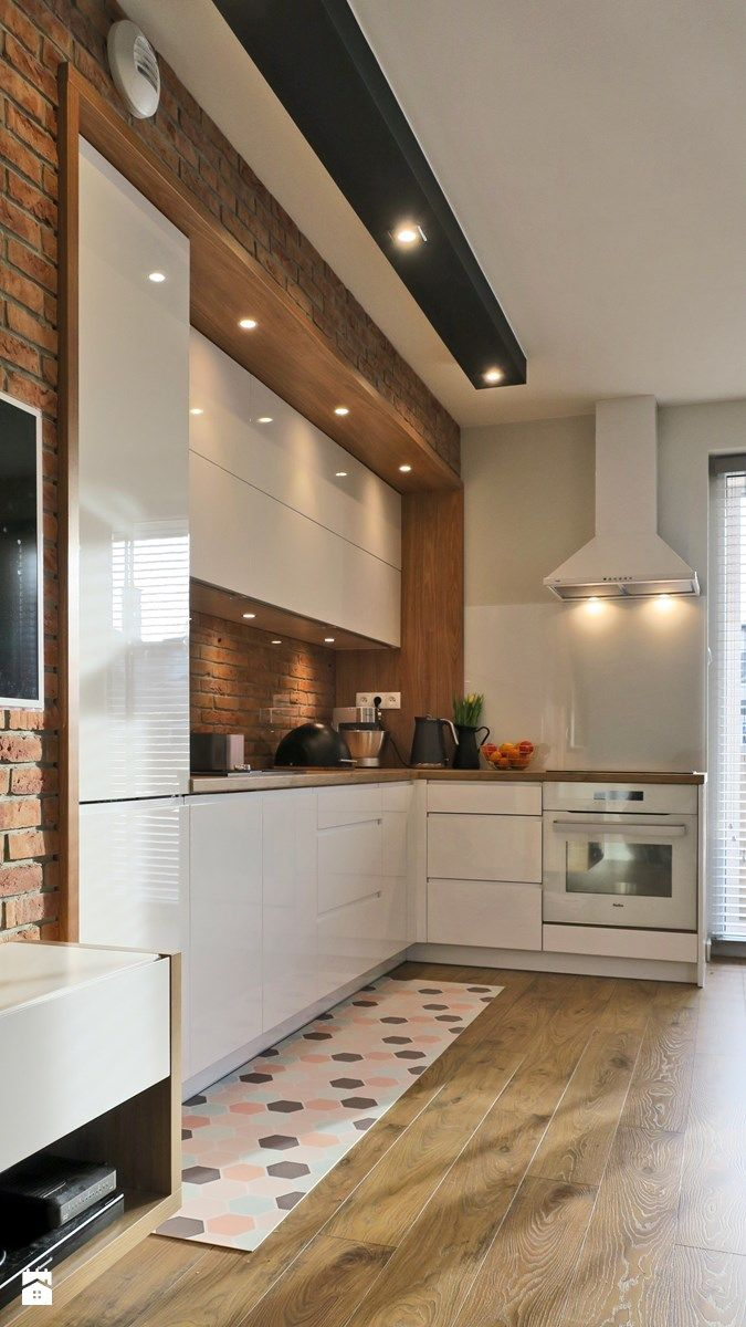Industrialna nuta - Mała średnia otwarta kuchnia w kształcie litery l w aneksie z oknem, styl skandynawski - zdjęcie od Studio Uljar
