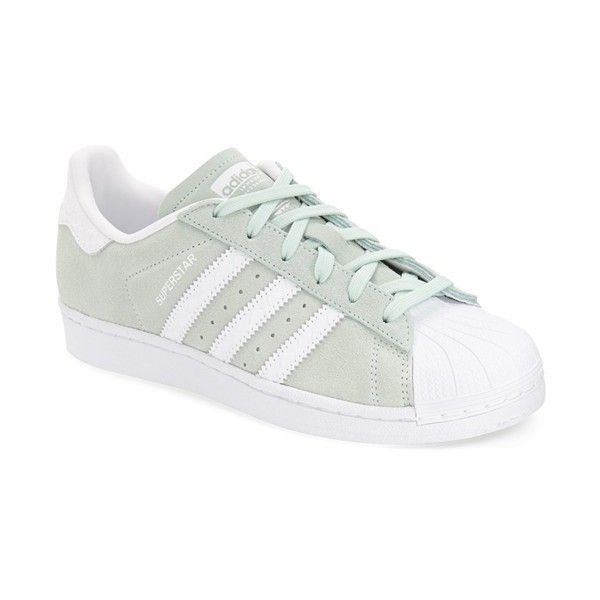 Women's Adidas 'superstar' Sneaker (€77) ❤ liked on Polyvore featuring shoes, sneakers, ice mint, mint green sneakers, adidas, mint shoes, adidas sneakers and adidas shoes