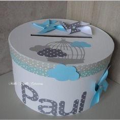Urne baptême personnalisée - thème moulins à vent - nuage - gris et turquoise