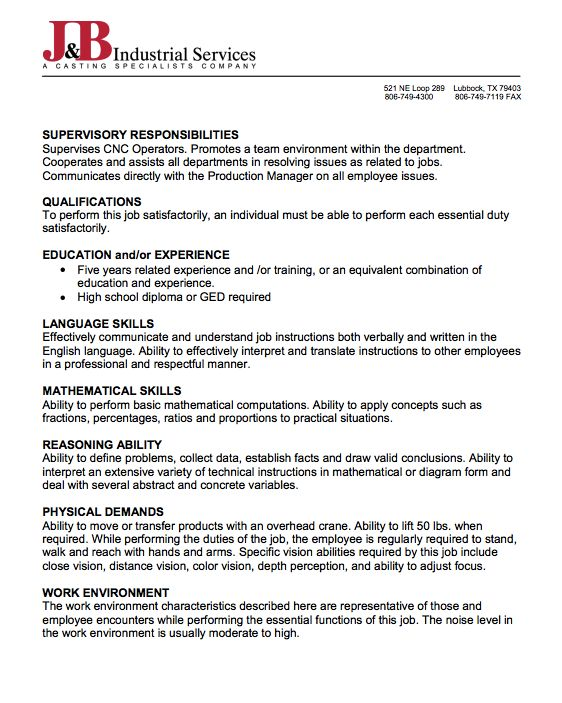 Cnc Operator Resume Every Company Wants To Have Good Worker With