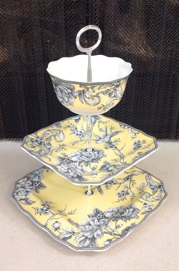 3 Tier Cake Stand Yellow Toile Country Cottage French Kitchen Family Gatherings Chic Square Plates