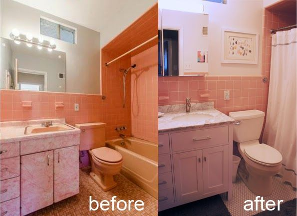 Gallery For Website Before After Pink Bathroom in St Louis midcentury ranch