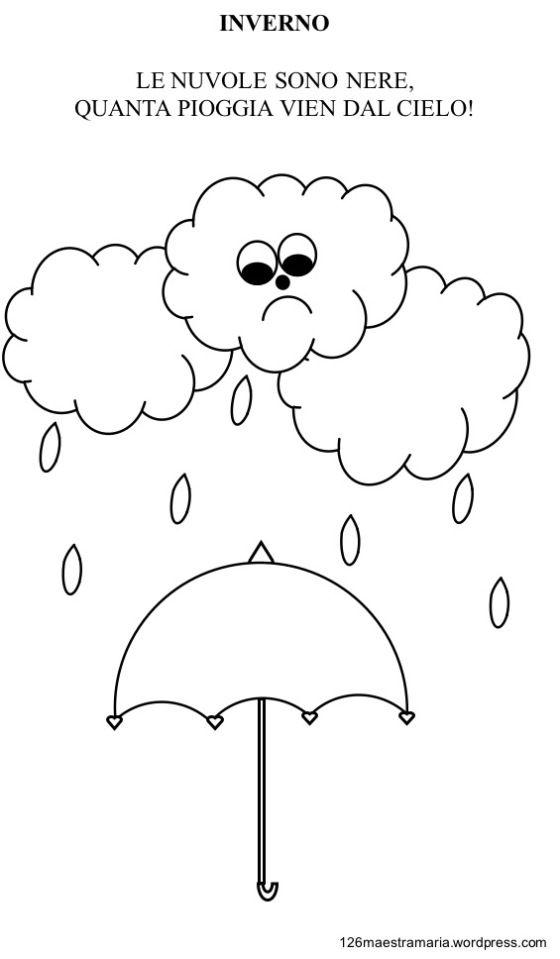 Disegno Pioggia Libretto Sulla Stagione Invernale Da Colorare