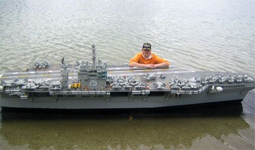 Replica of one of the largest aircraft carriers in the US Navy, the USS Harry S. Truman took more than 300,000 LEGO blocks to construct and includes 85 aircraft and 5000 crew members, accurate to the actual ship's parameters.