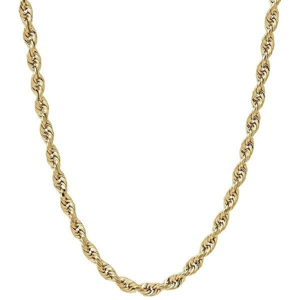 Lord & Taylor 14K  Rope Chain Link Necklace, 20in ($683) ❤ liked on Polyvore featuring men's fashion, men's jewelry, men's necklaces and yellow gold