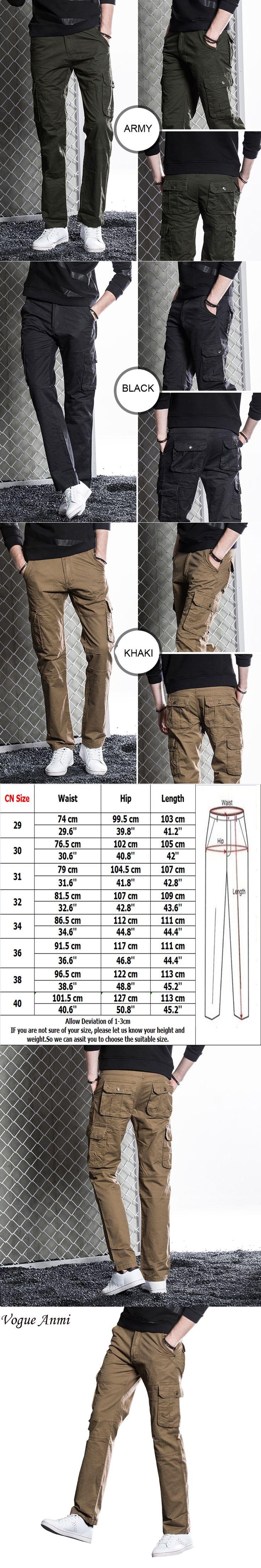 Vogue Anmi Men Cargo Pants Military Army Pant 100% Cotton Khaki/Army/Black Plus Size 30-40 mens Long trousers