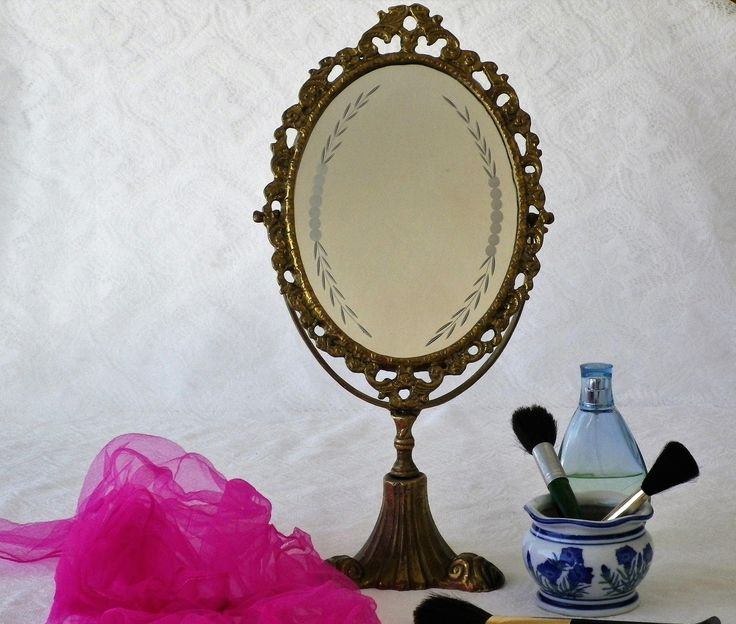 Brass Oval Vanity Mirror with Original Etched Glass, Art Nouveau, Boudoir Mirror, Pedestal Mirror, Adjustable Mirror, Dressing Table Mirror by CaveHouseCollection on Etsy