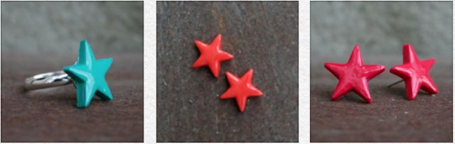 DIY - colourful stars made out of fimo clay