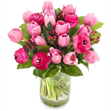 Boeket roze tulpen en ranonkels | Bloemen bezorgen Utrecht