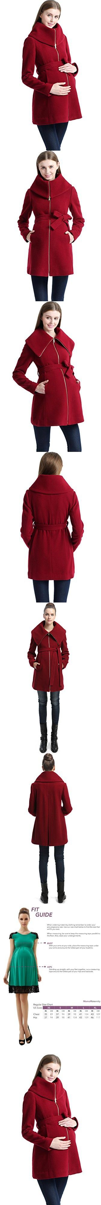 Momo Maternity Women's Wool Blend Fold Collar Zip Up Coat- Wine S