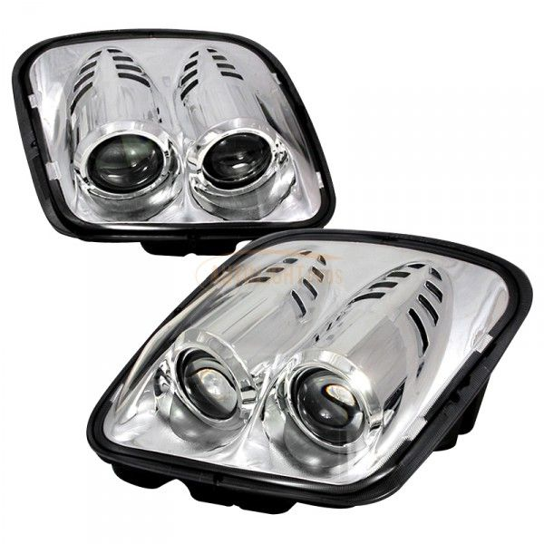 Old Corvette Headlights : Chevy corvette chrome clear projector headlights for