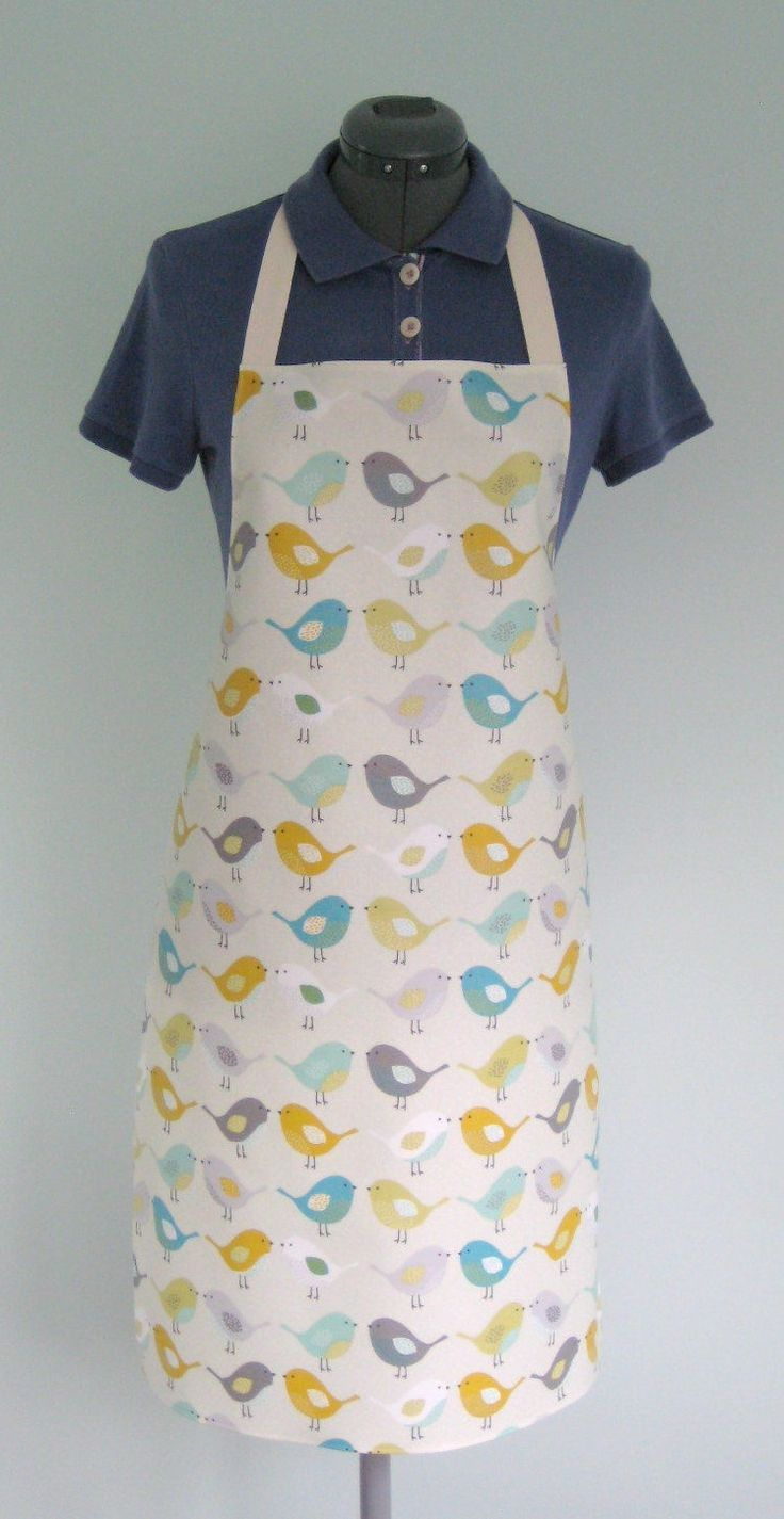 Waterproof Apron, Scandi Birds - Blue, Grey, Ochre Print Adult Oilcloth Apron, Matt PVC Apron, Protective Apron by OneLeggedGoose on Etsy