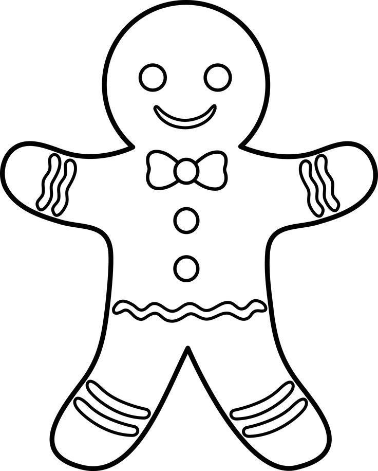Gingerbread Man Outline Coloring Page