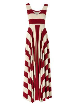 Red and white maxi dress.