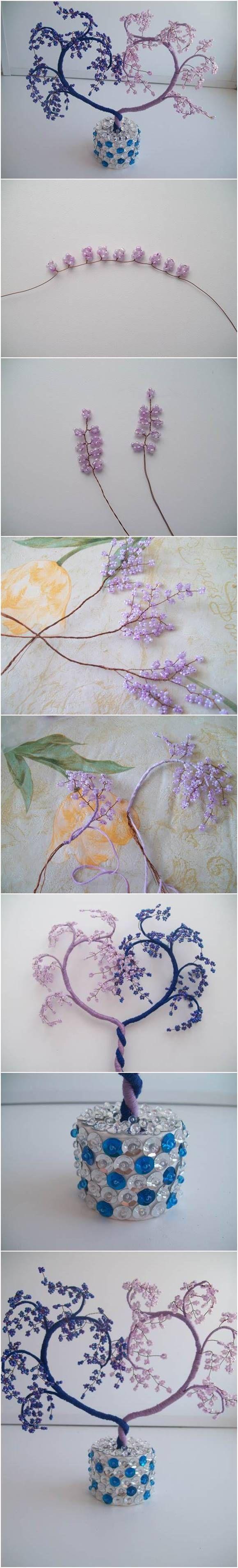 How to #DIY Heart Shaped Beaded Decorative Tree #craft #beading #decor #cbloggers