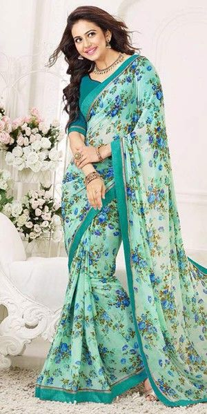 Cheerful Blue Color Floral Printed Silk Saree.