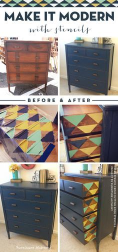 Cutting Edge Stencils shares a stenciled furniture idea using the triangle Triad Stencil. http://www.cuttingedgestencils.com/triad-pattern-stencils-for-diy-home-decor.html