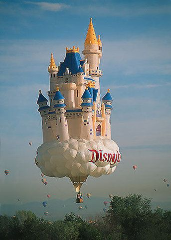 Not technically a bouncy castle, but Disney show us how its done with their great inflatable/hot air balloon
