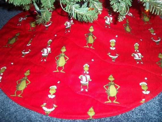 Handmade How The Grinch Stole Christmas Tree Skirt 30 Wide Round