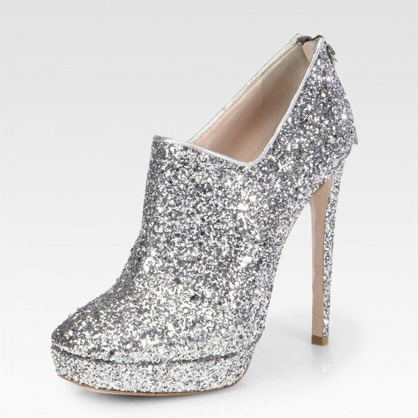 fb98f4105e2 FSJ Fall and Winter Fashion Ankle Booties Fashion Silver Glitter Stiletto Heels  Boots Platform Ankle Booties