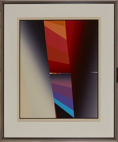 Gunnar S. Gundersen  Førde 1921 - Bærum 1983  Komposisjon Fargeserigrafi, 66/175. 62x49 cm Signert nede til høyre: Gunnar S.