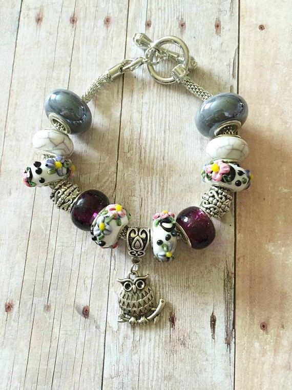 Owl Bracelet - Owl Charm Bracelet - European Bracelet - Owl Jewelry - Lampwork Bead - Silver Owl Charm - Toggle Bracelet - Large Hole Beads