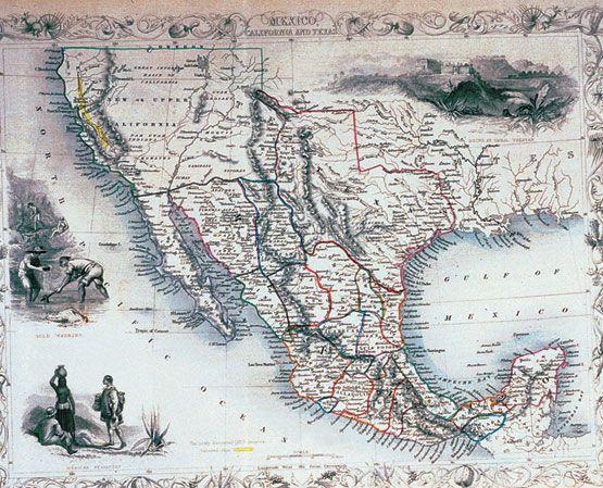 Mexico History 1810-1938. Map of Mexico 1824.