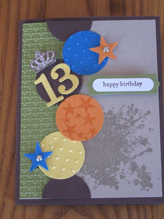 Birthday Teen Boy Son Grandson Nephew Cousin Friend handmade Stampin Up card Pick your number