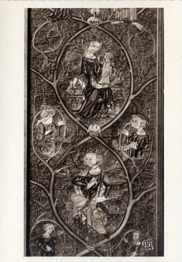 Musée historique des Tissus ; Palais du Commerce : Arbre de Jessé (fragment) ; Broderie polychrome ; Angleterre, XIVe siècle.