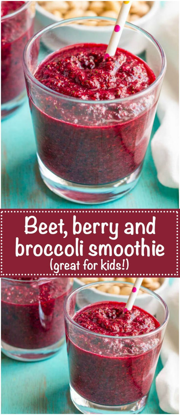 Berry beet smoothie with broccoli is a healthy, pretty fruit smoothie with a double dose of vegetables — a great way to get kids to enjoy their veggies! | www.familyfoodonthetable.com