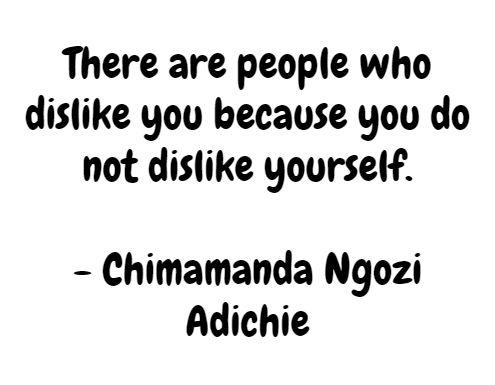 There are people who dislike you because you do not dislike yourself.  - Chimamanda Ngozi Adichie