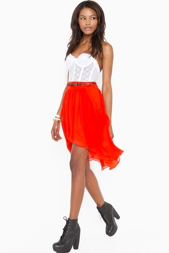 tangerine chiffon skirt & white bustier top