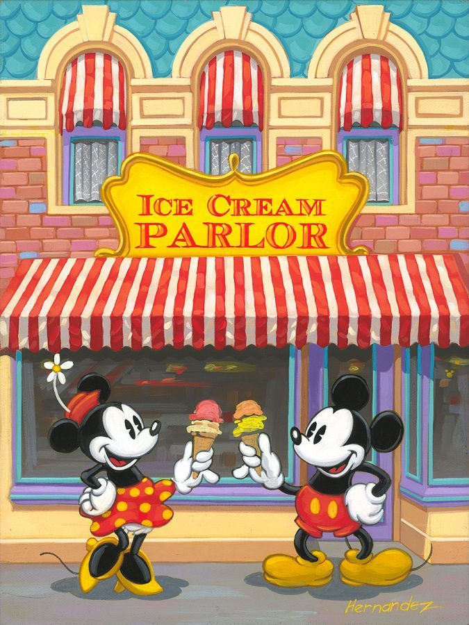 """""""Ice Cream Parlor"""" By Manuel Hernandez - Limited Edition of 750 on Canvas, 12x9."""