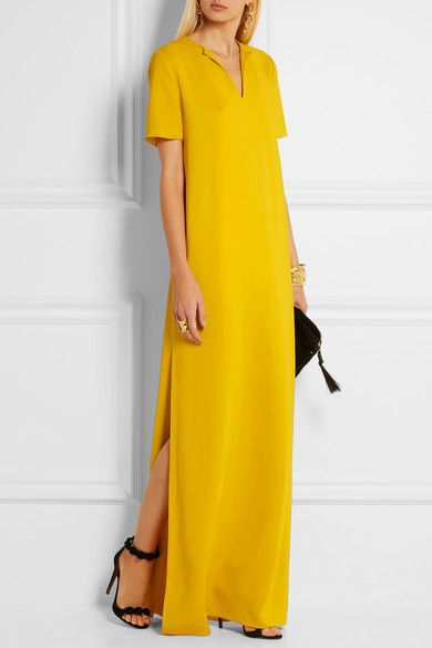 Yellow stretch-crepe  Slips on 97% viscose, 3% elastane Dry clean Made in France