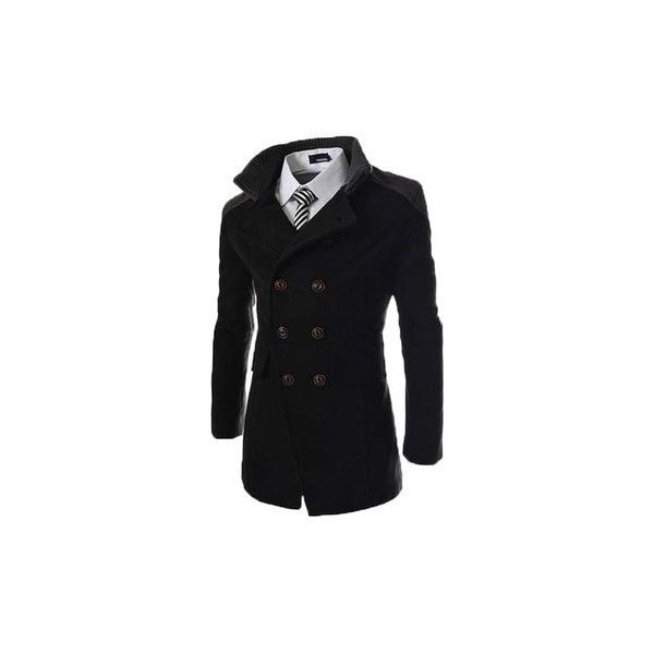 s Solid Double Breasted Mid-Long Thicken Trench Coat (£25) ❤ liked on Polyvore featuring men's fashion, men's clothing, men's outerwear, men's coats, black, mens double breasted coat, mens trench coat, mens long coat, mens fur collar coat and mens double breasted trench coat
