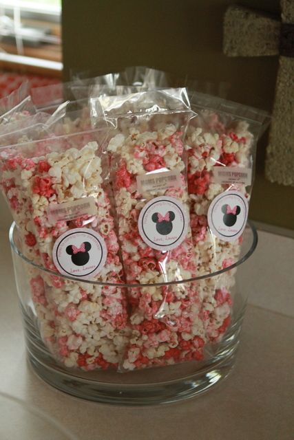 Popcorn at a Minnie Mouse Party! See more party ideas at CatchMyParty.com. #Minniemouse #partypopcorn