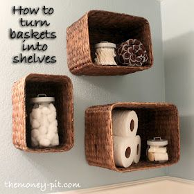 Turning Baskets into Shelves! This is great for a small bathroom! You can mount to the wall if you're a little shy on floor or counter space! I've done this and it's really fun! Easy up and easy down if you decide you don't like or need! Give it a try!! <3