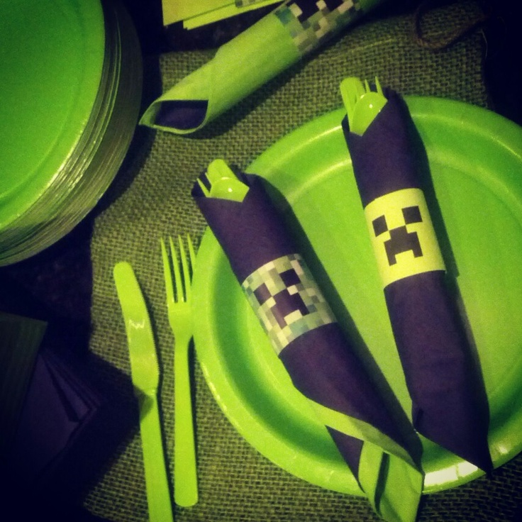 Minecraft napkin rings!  I designed and printed for my little guys birthday! I make all kinds of custom invitations plus more! Looking for a custom invitation design for your birthday party theme? Contact me at info@fox-t.com. Thanks!