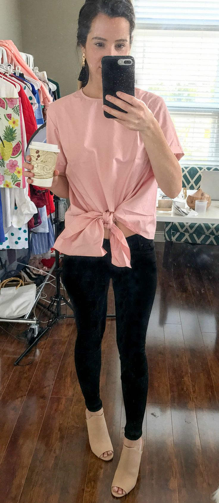 Pink BP. tie front blouse with black Hudson super skinny jeans | Nordstrom Anniversary Sale 2017 Hits and Misses by southern blogger Diary of a Debutante