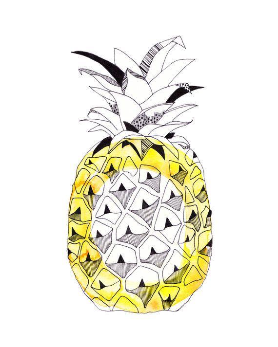 Pineapple circle tropical Watercolour art print by corejewellery, $26.00