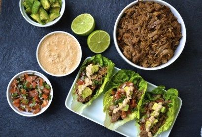 Shredded Pork Tacos packed with Mexican flavours topped with dairy free chipotle sauce and served in a lettuce wrap (grain/gluten free, Paleo & SCD)