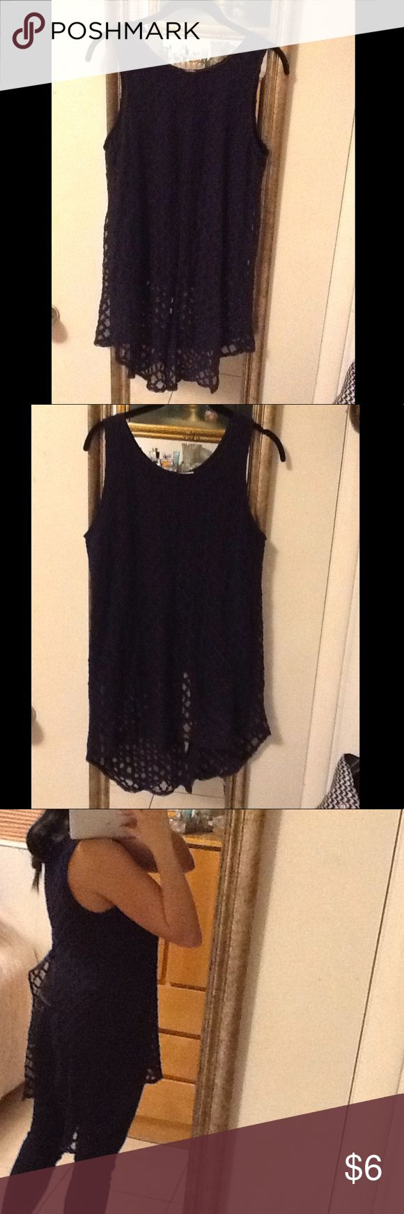 Navy blue high low quilt lace sleeveless tunic top Navy blue high low quilt lace sleeveless tunic top. Slit back detail. Under top attached. In excellent condition. Thanks♥️ capri Tops