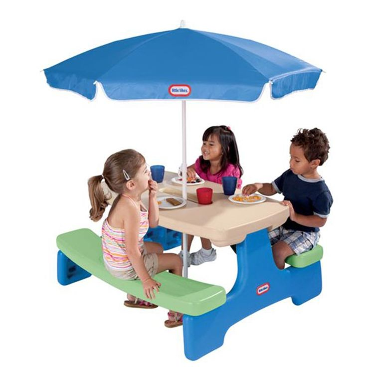 Easy Store™ Picnic Table With Umbrella   Blue\Green Part 85