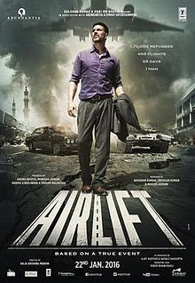 Airlift (January 22, 2016) an Indian drama film directed by Raja Krishna Menon. Stars: Akshay Kumar, Nimrat Kaur, Feryna Wazheir, Lena, and Purab Kohli. . The film is based on the storyline about the biggest evacuation of Indians based in Kuwait during the 1990 airlift of Indians from Kuwait.