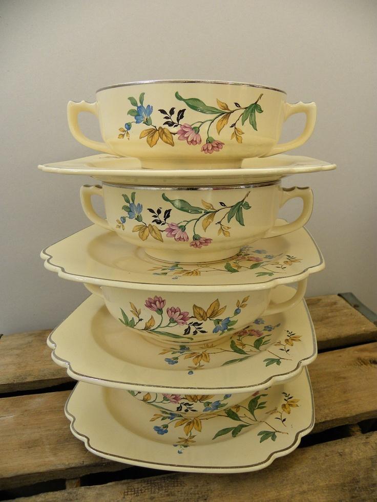 4 Vintage Homer Laughlin Soup Cups.