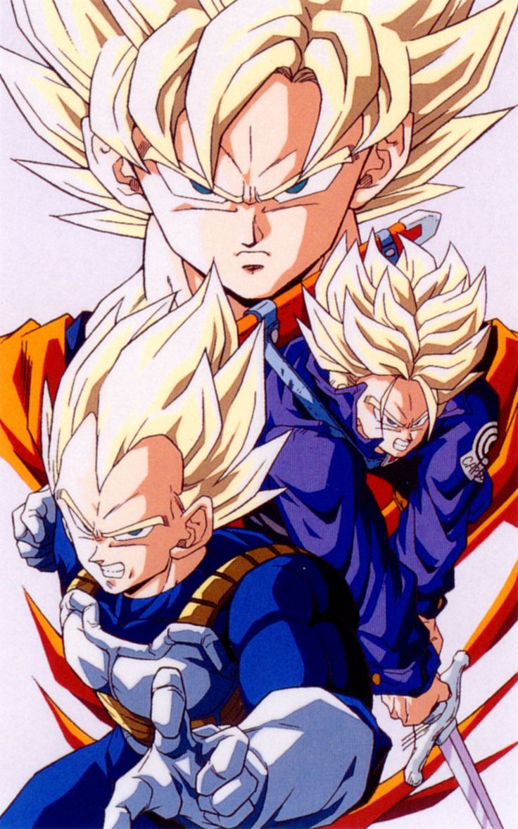 Vegeta, Goku e Trunks