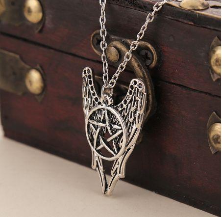 Supernatural Pentagram Castiel Wing Angel Necklace Dean Winchester