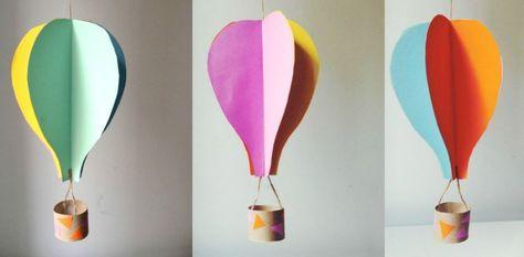 Ett roligt pyssel med papper för barn där de får göra sin egen luftballong! Klicka här för instruktioner till detta skojiga och enkla papperspyssel.