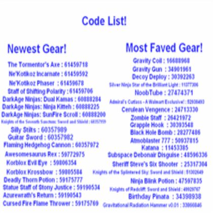 Code list for gear - ROBLOX | Coding, Roblox codes, Game codes