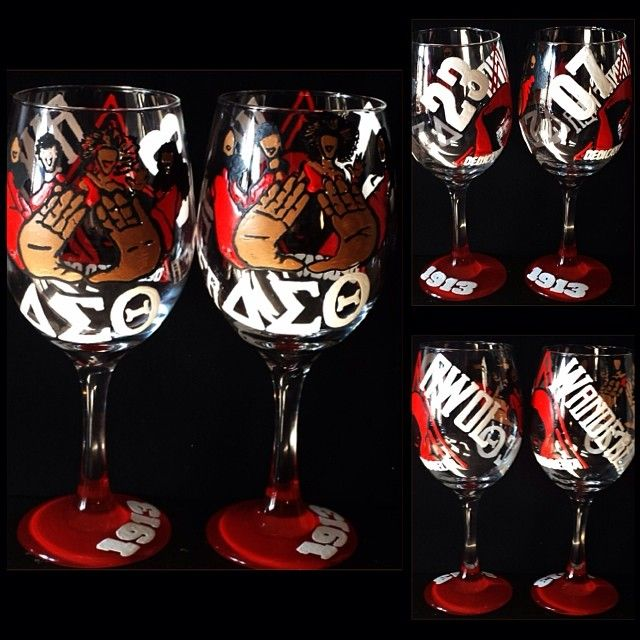 DST painted wine glasses